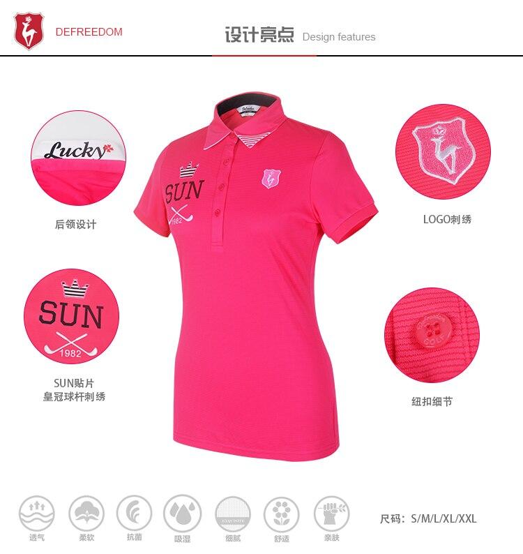 516ce2b7 2019 LUCXES Summer Golf Shirt Women Polo T Clothing Slim Fit High ...