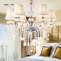 Modern Led Kitchen Chandelier 6 Lamp With Lampshade Pendant Crystal Chandelier Light Fixtures Lustres De Teto