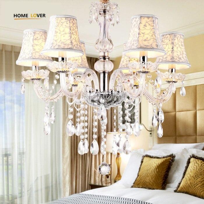 Modern Led Kitchen Chandelier 6 Lamp With Lampshade Pendant Crystal Chandelier Light Fixtures Lustres De Teto