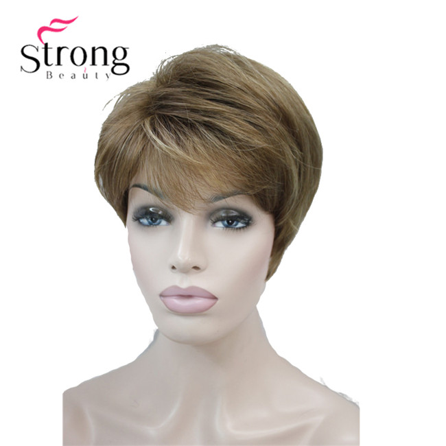 StrongBeauty Short Layered Brown Blonde Shag Classic Cap Full Synthetic Wig