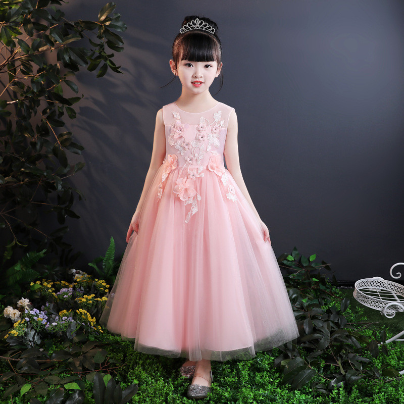 2018 Summer Formal Girls Lace Flower Dress Bridesmaid Princess Pageant Wedding Prom Party Birthday Gift for 10 Year Kids girls lace mesh half sleeves dress for princess pageant wedding bridesmaid birthday formal party