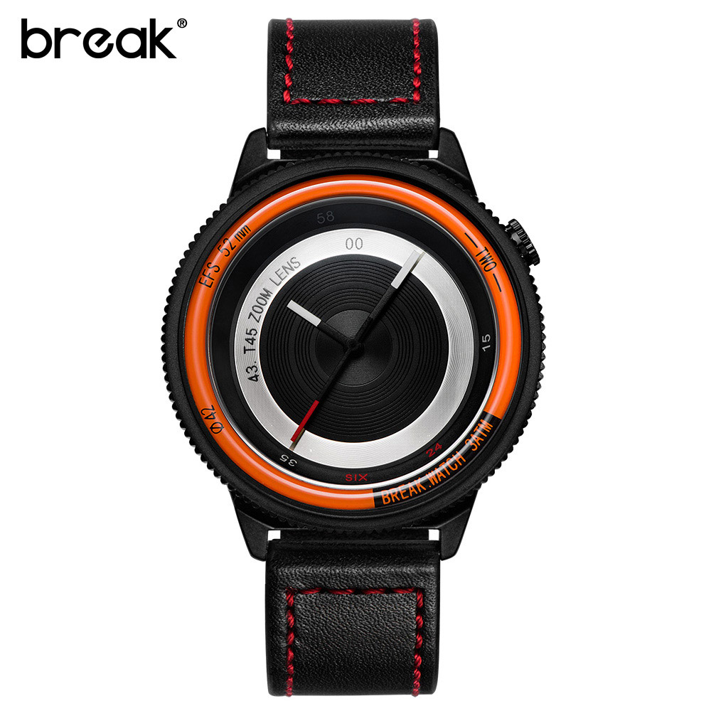 Break Brand Watches Men Fashion Analog Man Clock Genuine Leather Watch Relojes Waterproof Relogio Masculino Quartz Wristwatches weide popular brand new fashion digital led watch men waterproof sport watches man white dial stainless steel relogio masculino