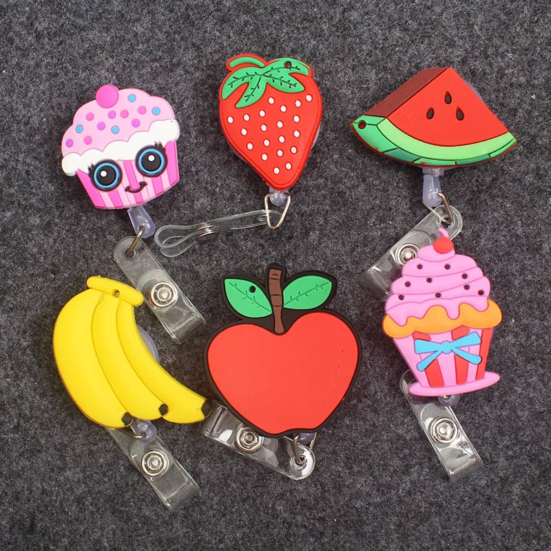 Colors Fruit Ice Cream Styles Clown Retractable Creative Badge Card Holder Reel Nurse Apple Exhibition Enfermera Name Card Chest