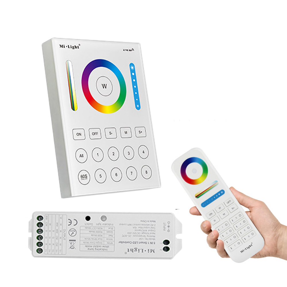 Mi Light 2.4G 8 Zone RF dimmer FUT089 remote B8 Touch Panel Wall-mounted rgbw wifi LS2 led controller for RGB CCT led strip milight wireless ls2 5in1 smart led controller b8 wall mounted touch panel control rgb cct led strip 8 zone rf remote controller