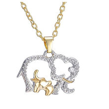 Mother's Day Gift Necklace Women Fashion Cute Elephant Crystal from Swarovski Alloy Metal Pendant Necklace Jewelry Gold Chain(China)
