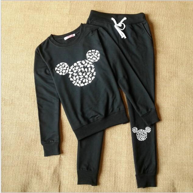 2017 Mode Frauen Herbst Neue Ankunft Mickey Muster Freizeit Anzug Crewneck Trainingsanzug Für Frauen Schwarz Grau Hoodies Sweatshirt Taille Und Sehnen StäRken