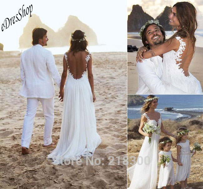 En Mousseline Dentelle Backless Plage Robes De Mariee Taille