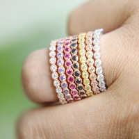 Pave set FULL STONE AAAAA zircon cz Rose Gold MIX COLOR 925 Sterling silver Engagement Wedding Band Ring for women