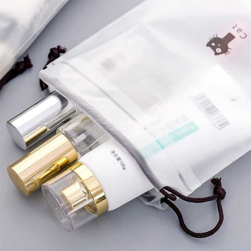 Transparante Leuke Dier Kat Cosmetische Tas Reizen Make-Up Case Koord Make Up Organizer Opslag Pouch Toilettas Vrouwen Wassen Kit