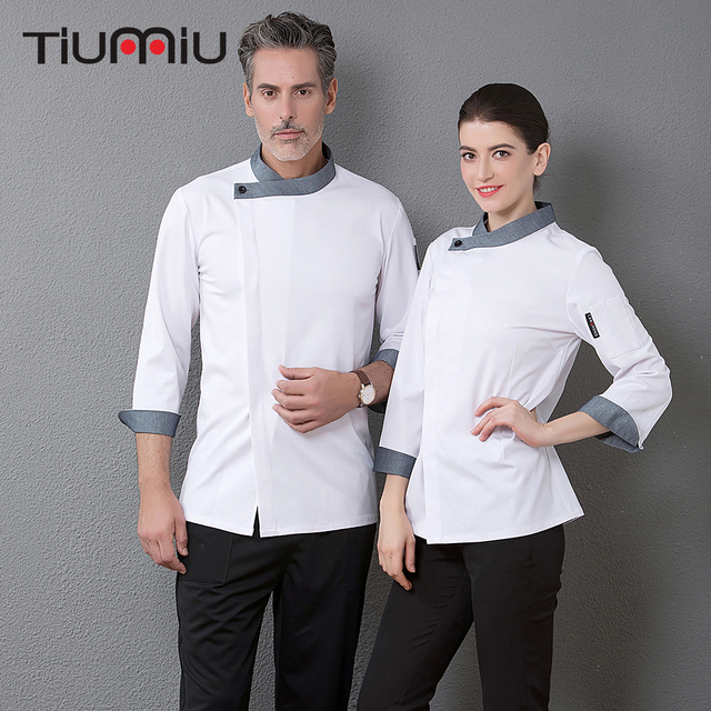 24446f8b8 Quality Restaurant Hotel Top Chef Waiter Jacket Long Sleeve Workwear  Clothing Baker Barber Uniforms Kitchen Master Cook Overalls