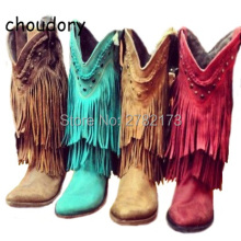 Rome Designed Women Fringed Mid-calf Boots Low Heels Lady Tassel Slip-on Motorcycle Boots Leather Cowboy Boot Shoes