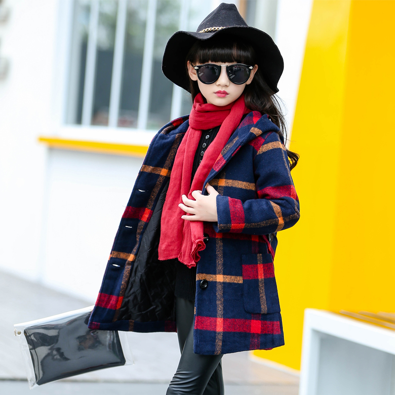 2018 Fall Winter Girls Fashion Plaid Wool Coat Children's Clothing Woolen Jacket Outerwear Kids Medium-Long Tweed Overcoat A254