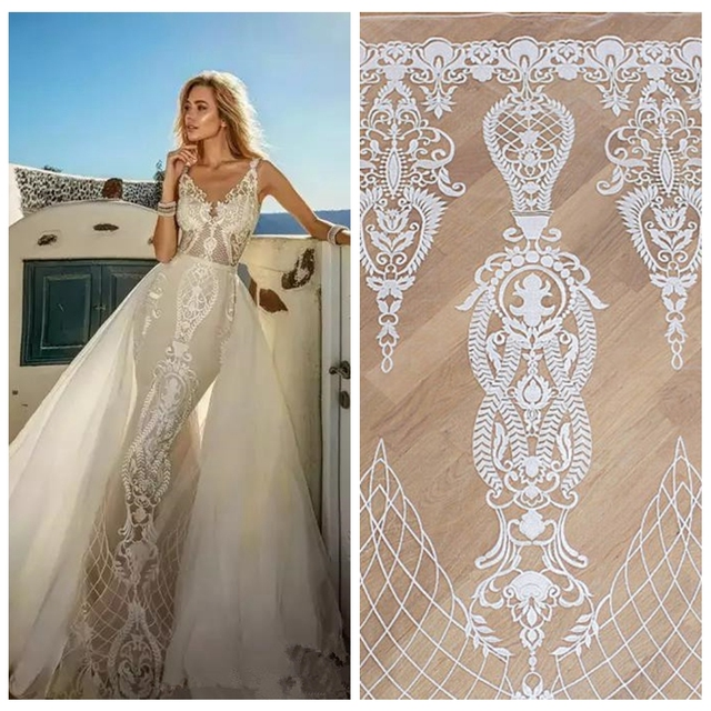 5yards hot popular off white/black high quality milk tulle embroidery fabirc for wedding dress guipure lace fabric