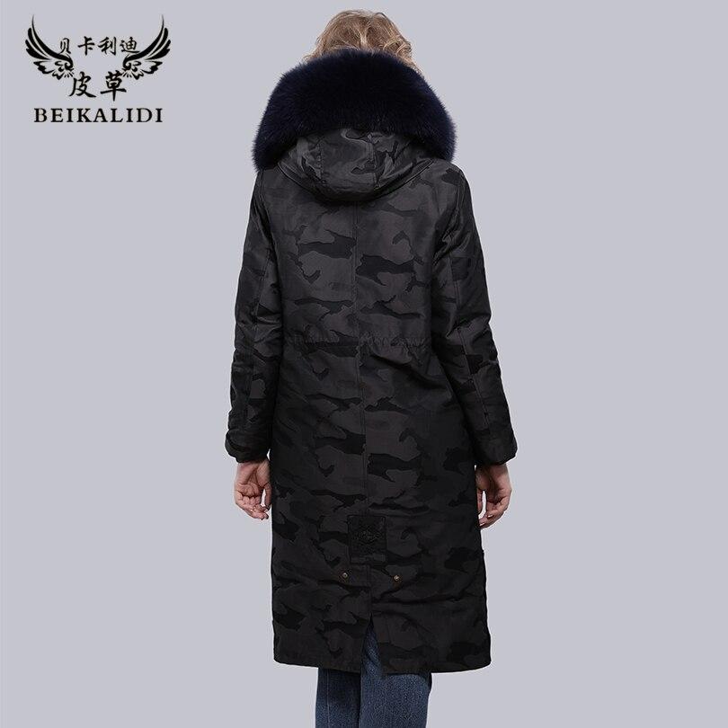 Vraie Avec De Blue Pardessus D'hiver Naturel Col Parkas Deep Veste Camouflage Manteau Rex Lapin Camouflage À Fourrure black Femelle Femmes Intérieure Fox Réel Capuchon Beikalidi 0n1wz7q5w