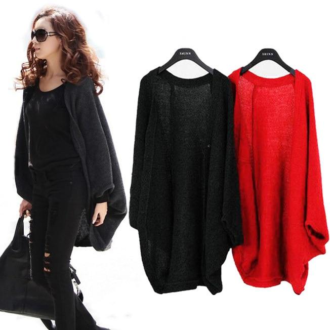 Fashion Women Batwing Bat Sleeve Cardigan Sweater Loose Long Cape ...