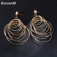 RscvonM Round Big Circle Gold Vintage Dangle Earrings Metal Maxi Jewelry Party Statement Charm Cheap Long Earrings Wholesale