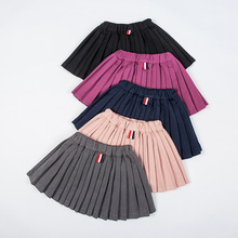 Girls Pleated Skirts Kids School Skirt Spring Autumn Solid C