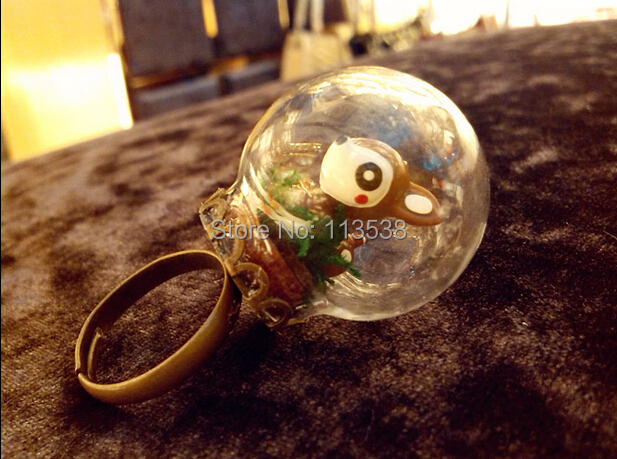 Free Ship! 50sets/lot 30*20mm glass globe with antique bronze lace ring setting findings set glass bubble DIY vial pendant
