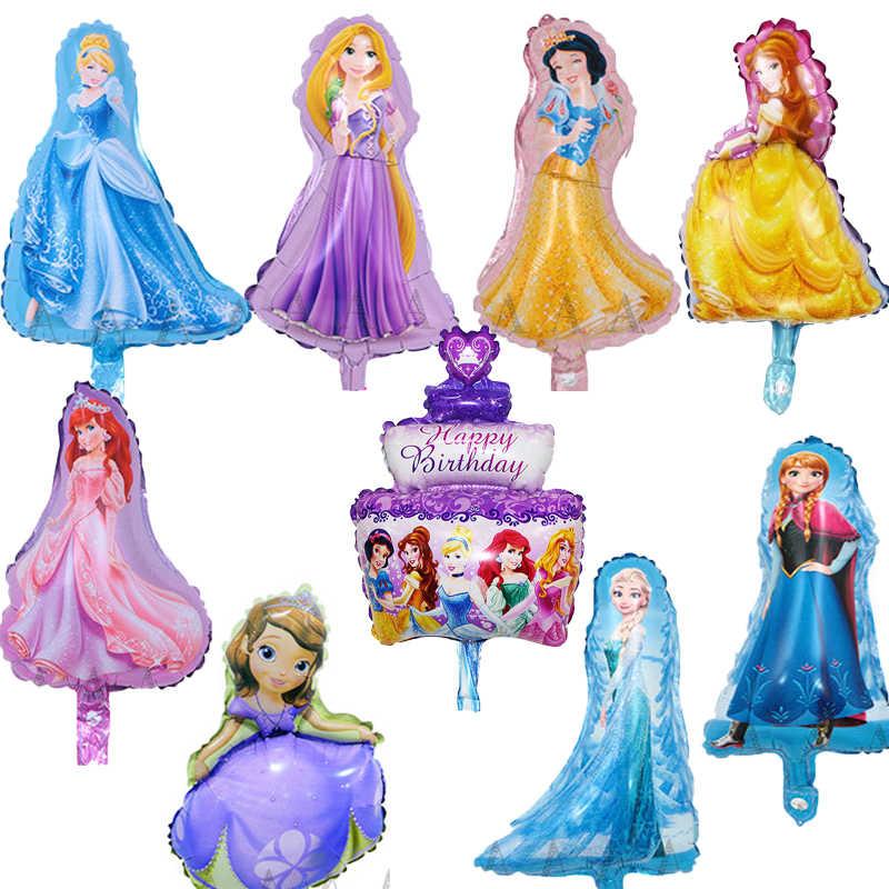 9pcs dos desenhos animados mini princesa balões de festa balões feliz aniversário balões folha princesa Branca de Neve belle Rapunzel balão