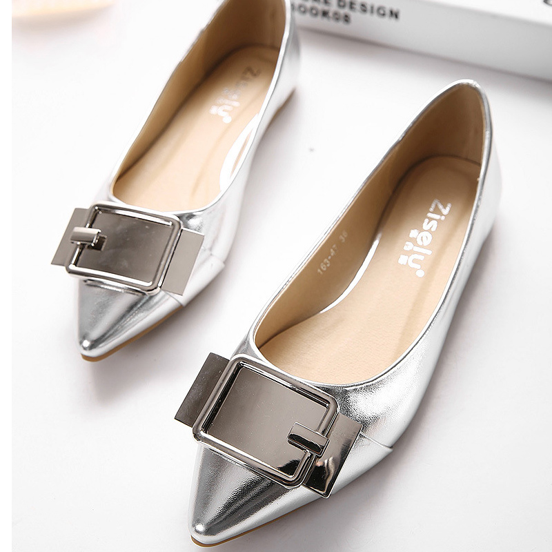 Shoes woman 2017 new silver/golden flat shoes women pointed toe solid  ladies shoes butterfly - Online Get Cheap Women Spring Silver Flat Shoes -Aliexpress.com