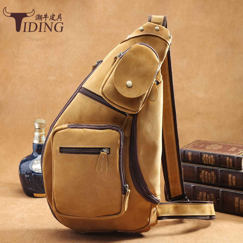 TIDING Luxury Genuine Crazy Horse Leather Men Retro Sling Chest Bag Crossbody Bag Shoulder Bag Messenger Bag 2016 New Free Ship fashion full grain genuine leather men messenger bag leather shoulder bag for men crossbody bag sling casual bag black free ship