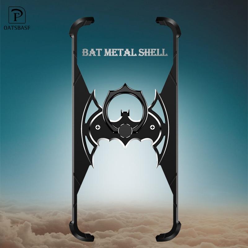 OATSBASF Bat diseño parachoques Airbag Metal funda para iPhone X caso personalidad anillo titular Shell para iPhone 7 8 más cubierta de Metal