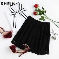 SheIn Womens Skirts Cute Ladies Skirts Mini Autumn Black Laser Cutout Scallop Hem Textured Above Knee