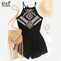Dotfashion Aztec Embroidered Elastic Waist Cami Romper Summer Boho Style Beach Wear Sleeveless Black Playsuit