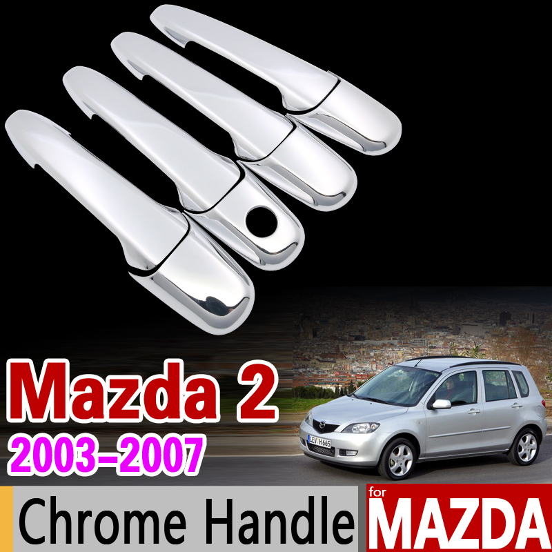 цена на for Mazda 2 Demio (DY) 2003-2007 Chrome Handle Cover Trim Set Mazda2 2004 2005 2006 Car Accessories Stickers Car Styling