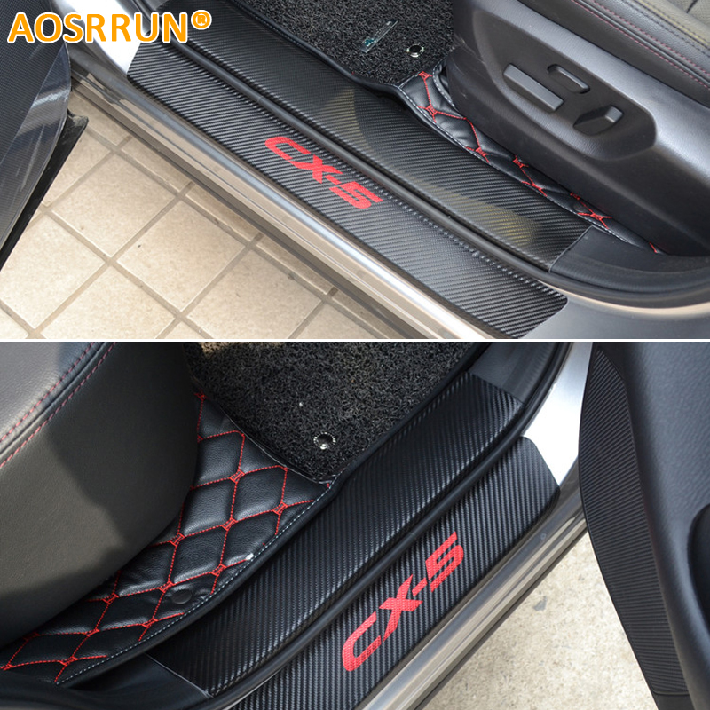 AOSRRUN PU leather Carbon fiber Car styling Door Sill Scuff Plate For mazda CX 5 CX5