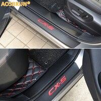 PU Leather Carbon Fiber Door Sill Scuff Plate For Mazda CX 5 CX5 2014 2015