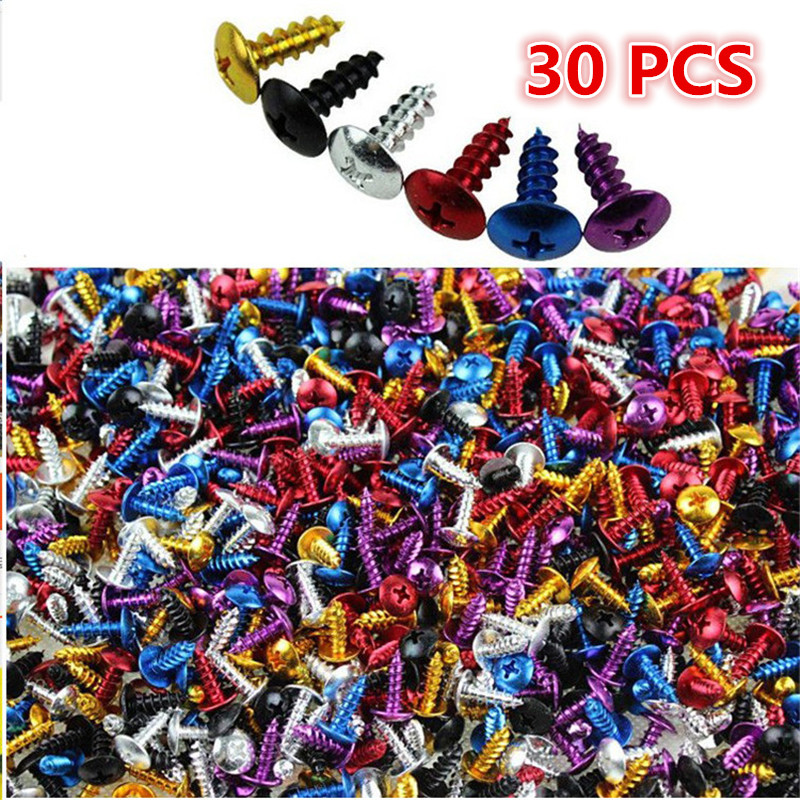 30 PCS 2CM Colorful Motorcycle Screw Decal Accessories Universal Parts Motorbike Frame Fixed Scooter Nuts Bolts Moto Tip Screws