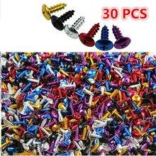30 peças de parafusos para moto de comprimento, parafusos coloridos de 2cm de comprimento, fixador para moto, acessórios para motocross parafusos fixos de moldura para moto rbike, decalque universal colorido parafusos para ponta de moto