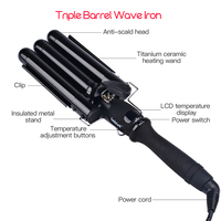 CkeyiN 19 25MM Curlers Three Pipe Joint Ceramic Triple Barrels Curling Iron LCD Electric Hair Curly Big Hair Wave Waver Styling