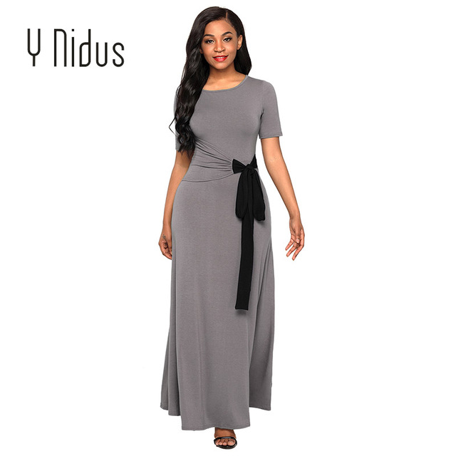 e470f0ad0b6 Y Nidus Women S Dresses Summer Dress 2018 Wrap Gather Waist Maxi Lady Long  Party Short