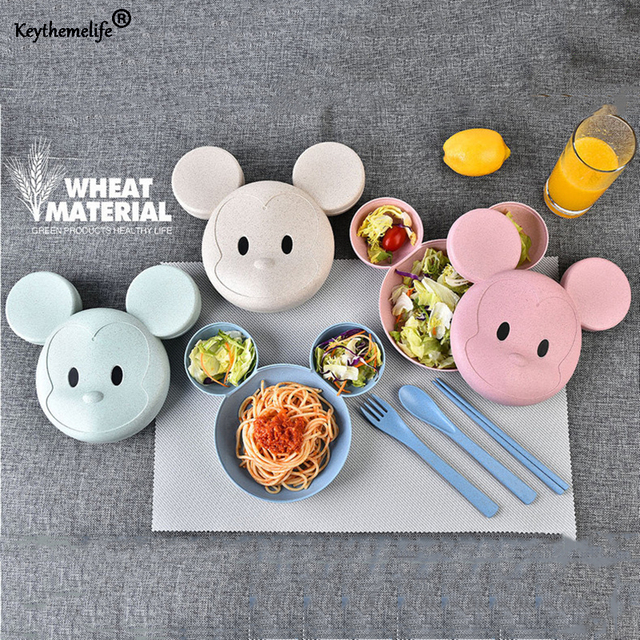 keythemelife wheat straw monkey kids dinner plates cartoon food plate fruit dish bowl spoon fork baby