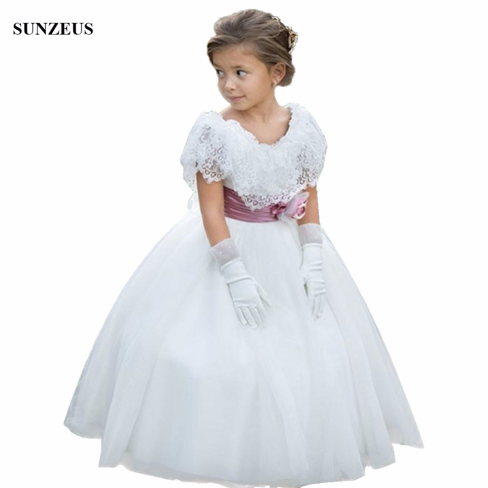 Beautiful Lace Cap Sleeve   Flower     Girl     Dress   Ball Gown Floor Length Long Ivory Tulle Party   Dress   vestito comunione bambina FLG049