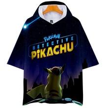 2019 New Pokemon Detective Pikachu 3D Print Hooded T-shirts Women/Men Fashion Summer Short Sleeve Tshirt Streetwear Clothes