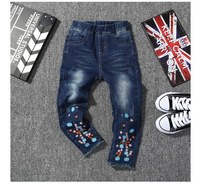 Spring Autumn Girls Pants Elastic Waist Denim Baby Girls Jeans For 3 12Y KP 1823