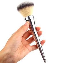 1pcs Aluminium Face Makeup Blush Powder Foundation Silver Handle Cosmetic Large Powder Brush