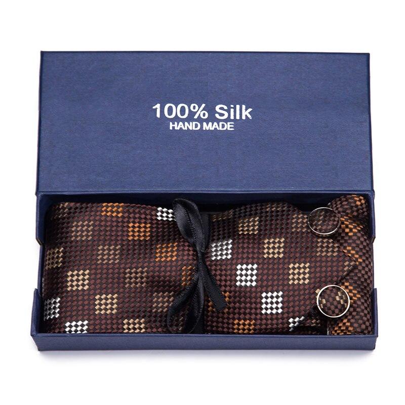 3PCS Men's Floral Tie Handkerchief Set Yellow Striped 8cm Necktie Pocket Square Cufflinks set Tie  For Men Wedding Accessories