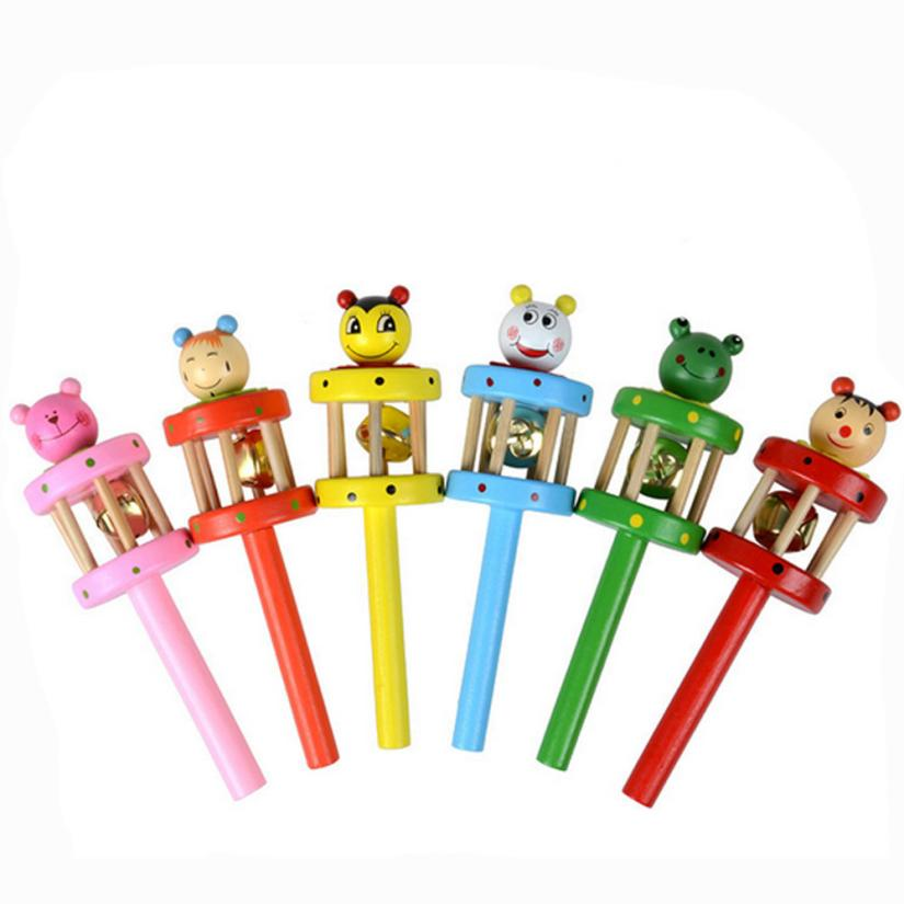 Baby Toy Cartoon Animal Wooden Handbell Musical Early Educational Developmental Instrument Musical Plush Toy great
