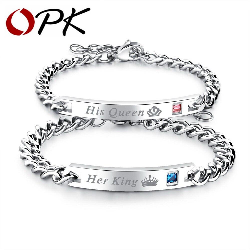 OPK 2018 offre spéciale roi & reine ID bracelets pour femme hommes blanc couleur couronne conception bleu CZ bracelet à breloques cadeau de la saint-valentin GS887