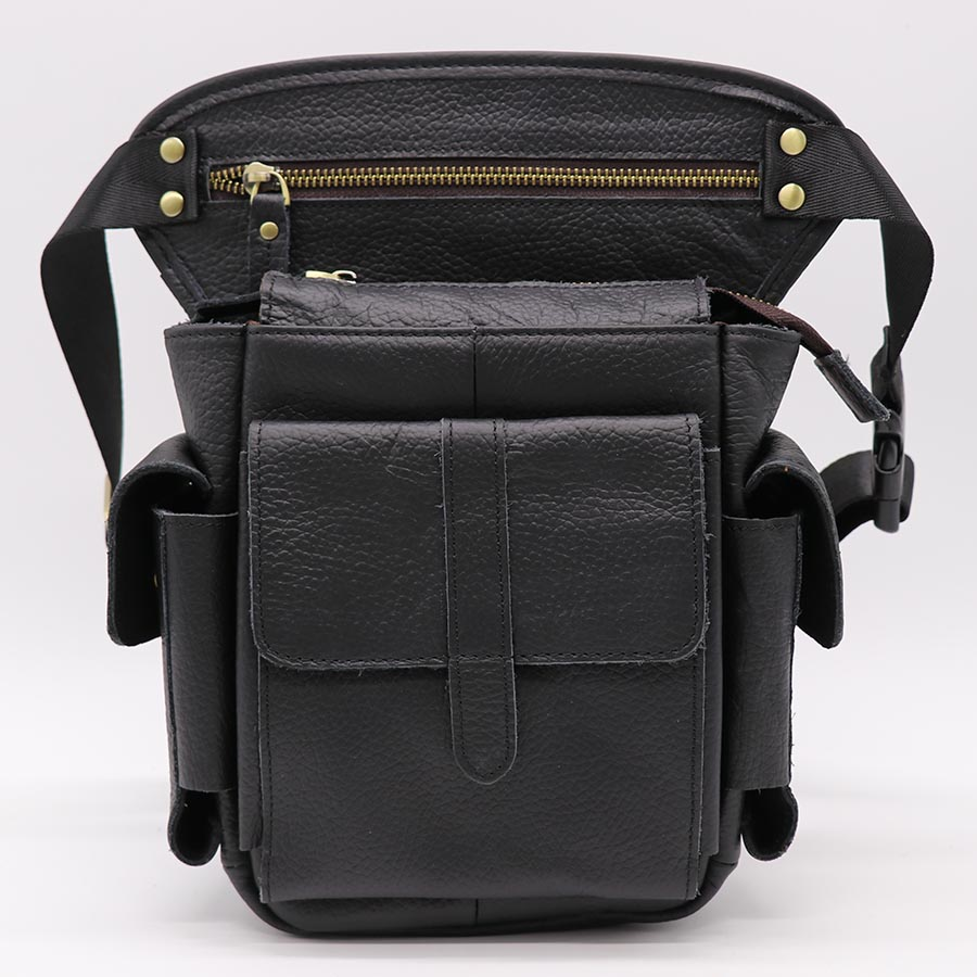 Brand Genuine Cow Leather Casual Travel Bag Men's Waist Leg Thigh Pack Shoulder Messenger Bags Cell Phone Case Cover genuine leather mulit function casual travel bag men s shoulder messenger bag waist belt pack hook punch cell phone cover case