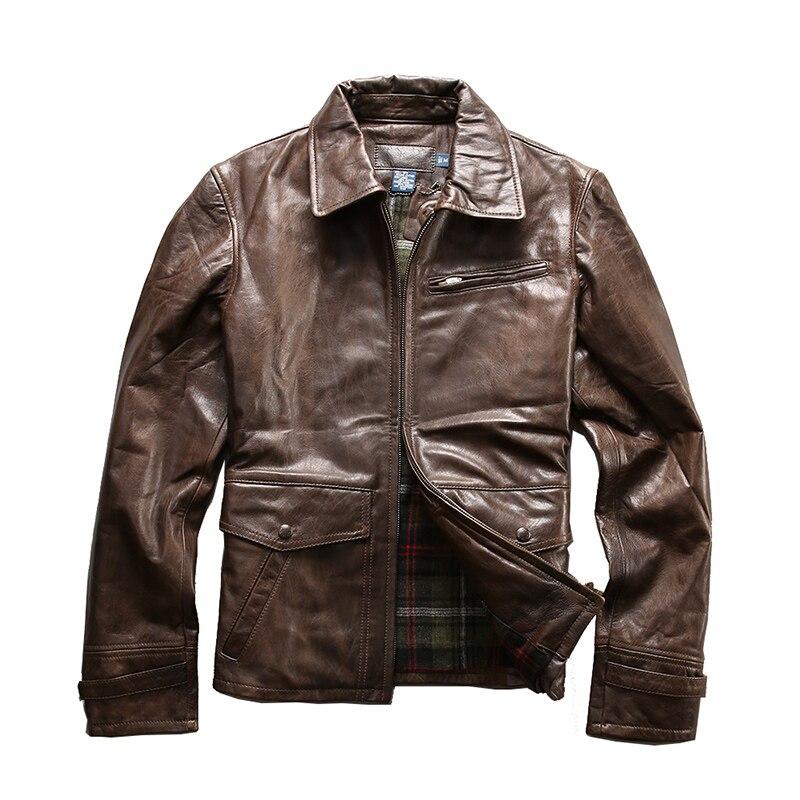 Read Description! Asian size good quality coat mens cow leather jacket mens genuine cowhide leather vintage rider jacket M5718