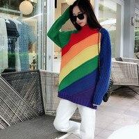 2018 г. Модные женские разноцветные Полосатые Радуга шерстяной свитер