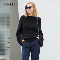 Amii минималистский 100% шерстяной свитер Для женщин осень 2018 повседневные Slash шеи негабаритных Элегантный женский Зимний пуловер Свитера