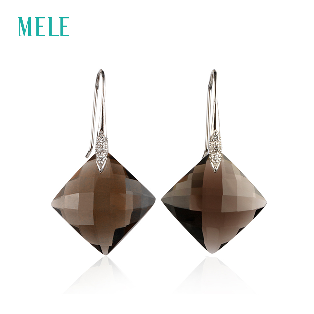 MELE Natural smoky quarts silver earring big square 18mm 18mm deep color and all clean quality