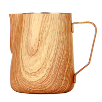 Coffee Pitcher Stainless Steel Coffee Milk Frothing Pitcher 350ml 600ml Barista Craft Coffee Latte Frothing Jug Wood Grain Style