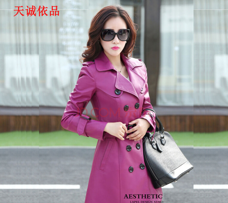 Free shipping !!! 2015 hot sale new winter fur whom big yards long han edition cultivate one's morality PU   leather   trench coat